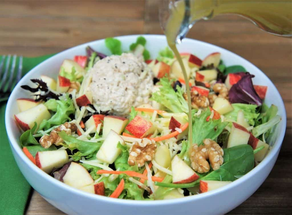 Tuna Apple White Cheddar Salad in a white bowl
