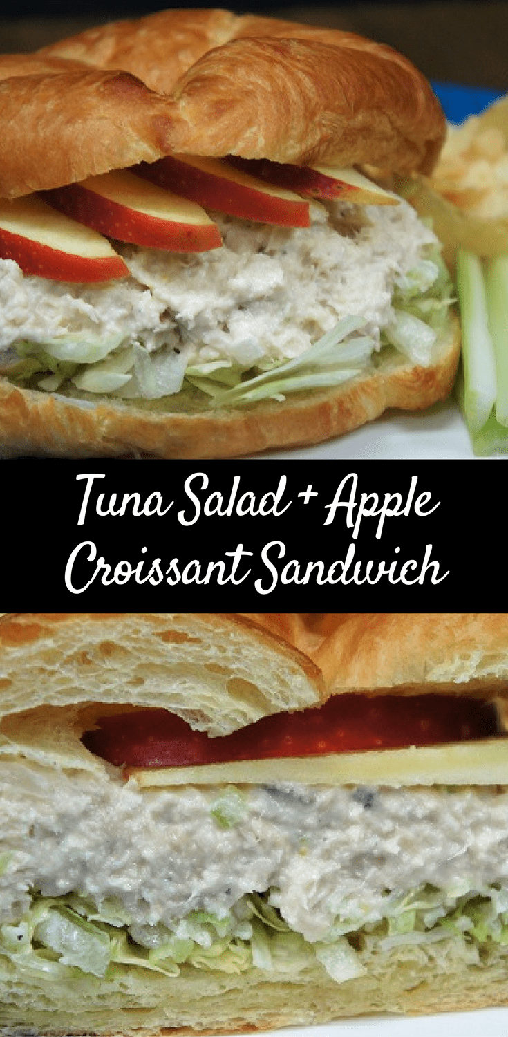 This tuna salad & apple croissant sandwich is so good and easy to make. The secret is a light, yet creamy tuna salad. The rest is easy, sliced apples and store bought croissants make the best tuna sandwich you've had! #tunasalad #tunasandwich #lunch #tuna #tunacroissantsandwich