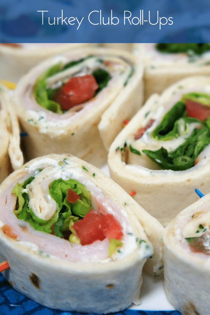These easy turkey club roll-ups are perfect as an appetizer, lunch, or when it's just too hot to cook dinner. #turkeyclubrollups #turkey #easyappetizers #appetizers #lunch #easylunches #turkeyclub