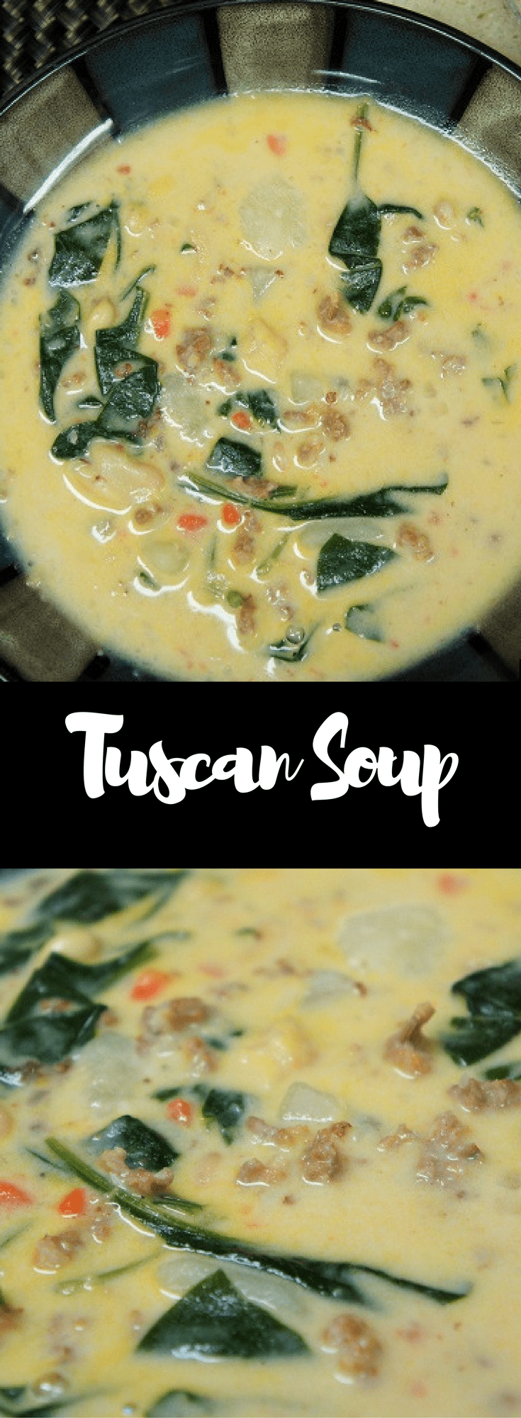 This Tuscan-style soup is hearty and delicious. It has a ton of flavor, and a spicy kick thanks to the Italian sausage. It's also loaded with good-for-you ingredients like garlic, onions, spinach and potatoes. This is one soup that won't leave you hungry. #tuscansoup #soup #italianfood #italiansausage