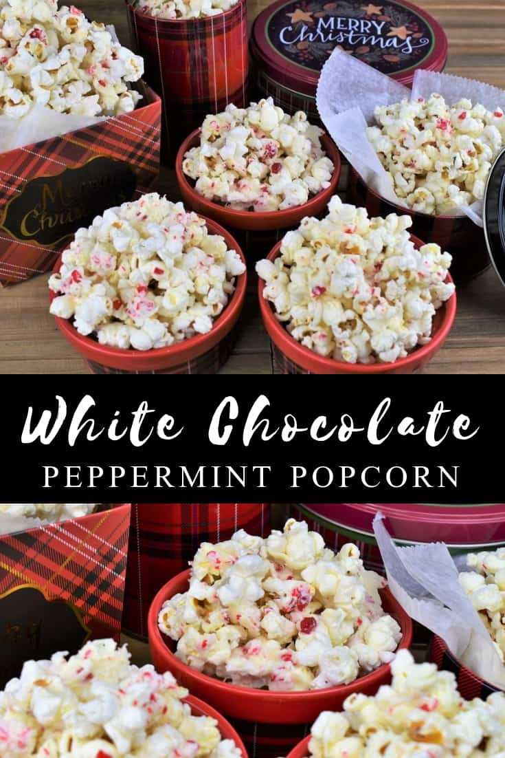 This white chocolate peppermint popcorn is a wonderful treat to make during the busy holiday season. It's really easy and quick to make too. Whip up a batch and watch it disappear, or package it in treat boxes, or bags for a special homemade gift. #whitechocolatepopcorn #popcorn #peppermintpopcorn #holidaytreats #christmastreats