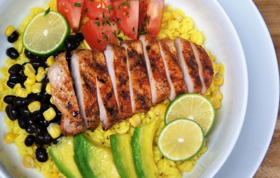 Yellow Rice & Grilled Pork Loin Bowl