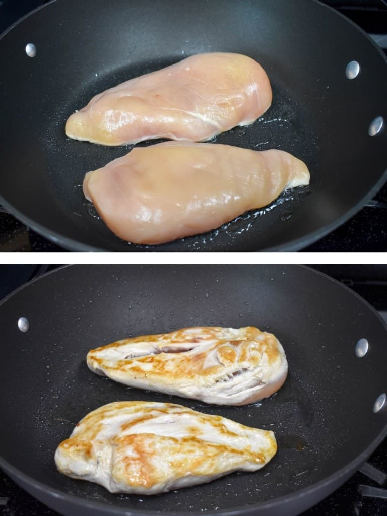 Two images of two chicken breasts in a large, black skillet. The top image is the chicken just put into the pan where the top is raw. The second image is the chicken after it is flipped so the browned side is up.