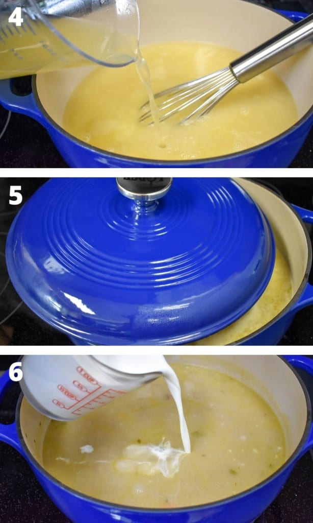 Three images showing the steps to finishing the soup starting with adding the broth and finishing with adding the cream. The soup is in a large, blue pot.