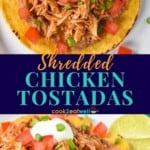 shredded chicken tostada pin