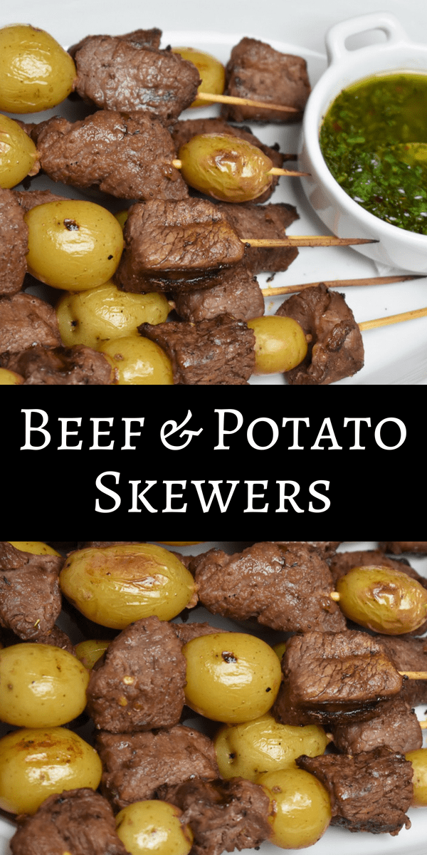 These beef & potato skewers are great for summer cook-outs. Affordable beef round pieces are marinated with a combination of Worcestershire and soy sauce, herbs and spices. They're super flavorful and tender. Then the beef is skewered with little potatoes and grilled. #beefandpotatoes #beef #skewers #summertime #barbeque #grilledbeef #beefskewers