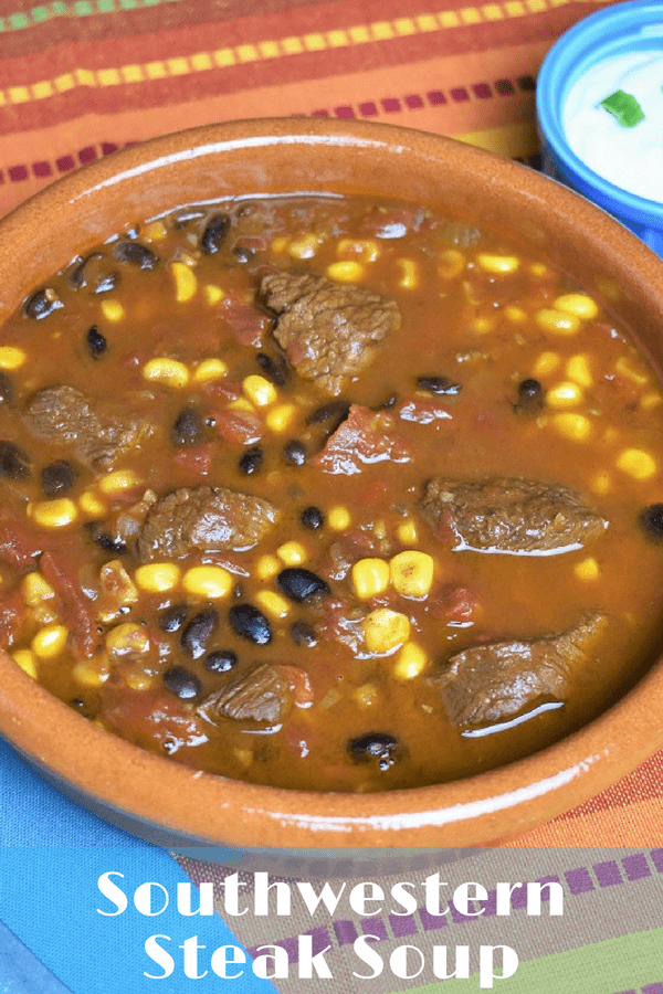This southwestern steak soup is hearty, and really easy to make. Affordable beef round and simple pantry ingredients combine to make this delicious soup. It's a little bit spicy and totally satisfying. #southwesternbeefsoup #southwesternsoup #beefsoup #soup #beefrecipes #soups
