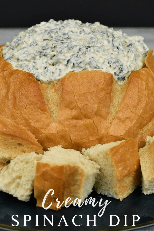 This creamy spinach dip is easy to make. In fact, there's no cooking required. A few simple ingredients come together to make a creamy dip that's ready in just a few minutes. #creamyspinachdip #spinachdip #easyappetizers #nocookappetizers #holidaypartyappetizers