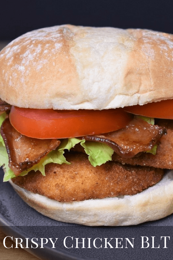 If you're in the mood for a fantastic sandwich, this crispy chicken BLT will not disappoint. Take a crispy chicken sandwich and combine it with a classic BLT and you'll get one delicious meal. Take-out won't stand a chance once your family gets a taste of this sandwich. #crispychickenblt #crispychickensandwich #chickensandwich #sandwiches #chickenrecipes