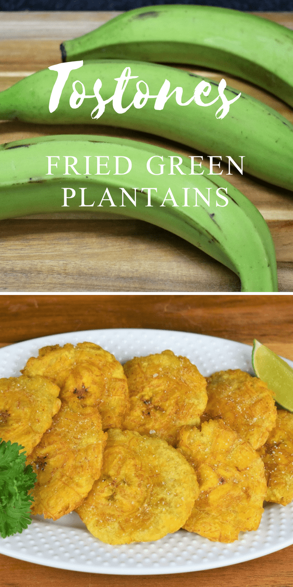A classic Cuban side dish, tostones are fried green plantains; actually they're twice fried green plantains. They're really good with all kinds of dishes. #tostones #friedgreenplantains #greenplantains #cubantostonesrecipe #sidedishes #tostonesrecipe