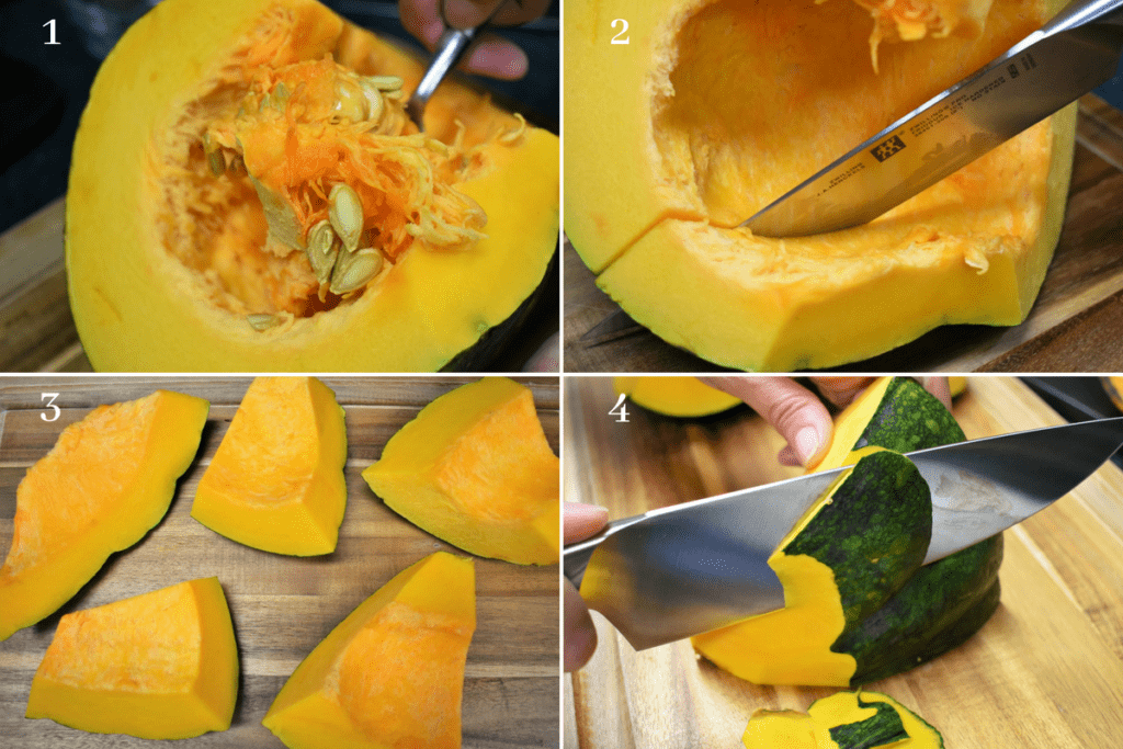 Peeling Pumpkin Instructions in four steps