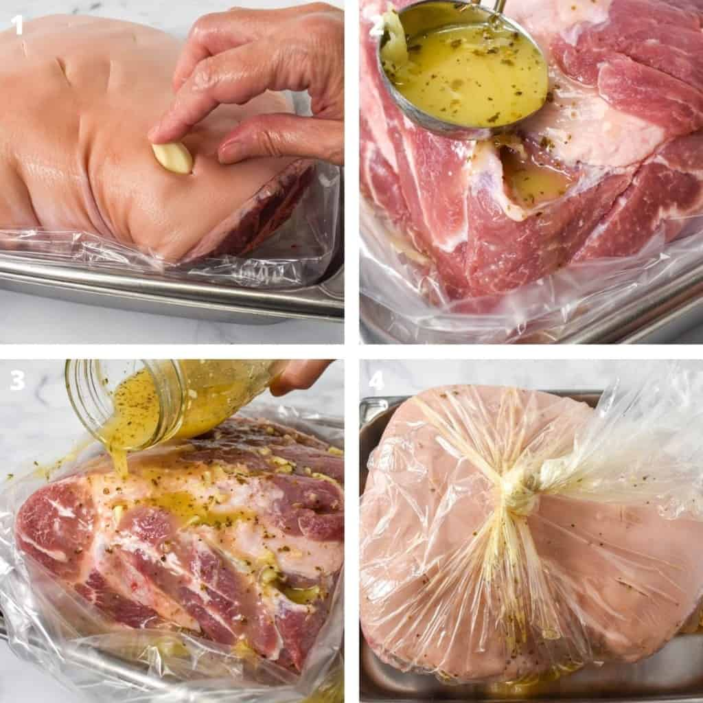 A collage of four images illustrating the steps to marinating a pork shoulder.