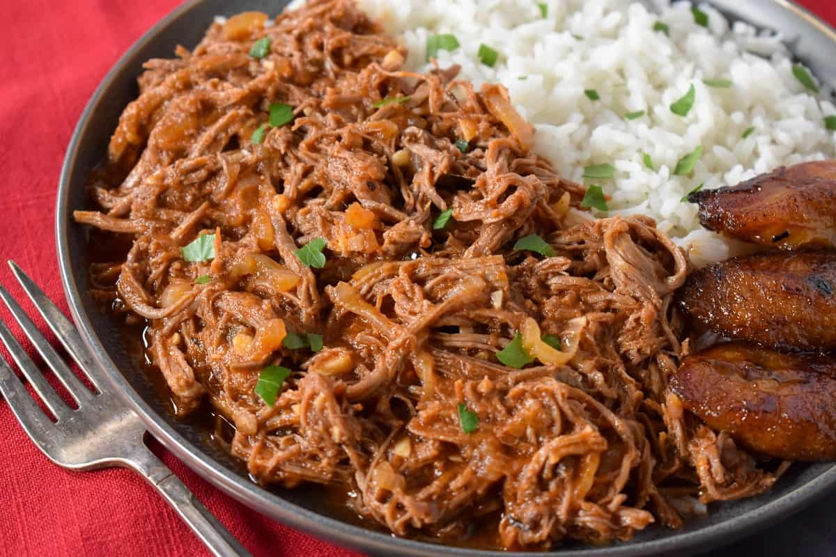 A close up picture of the shredded beef.