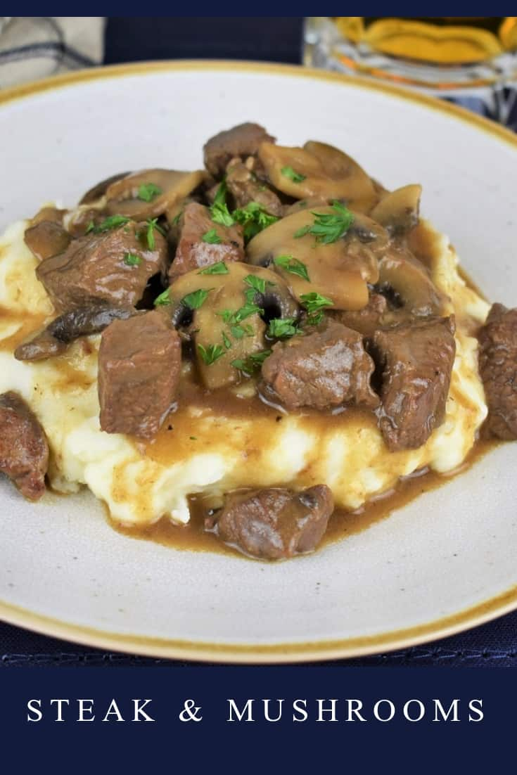 This steak and mushrooms dinner comes together quickly, and it's absolutely delicious. In this recipe, sirloin steak in cut into bite sized pieces and cooked in a flavorful mushroom sauce. We serve the steak and mushroom over a bed of mashed potatoes for a filling, comforting meal that is sure to please. #steakandmushrooms #steakandmushroomgravy