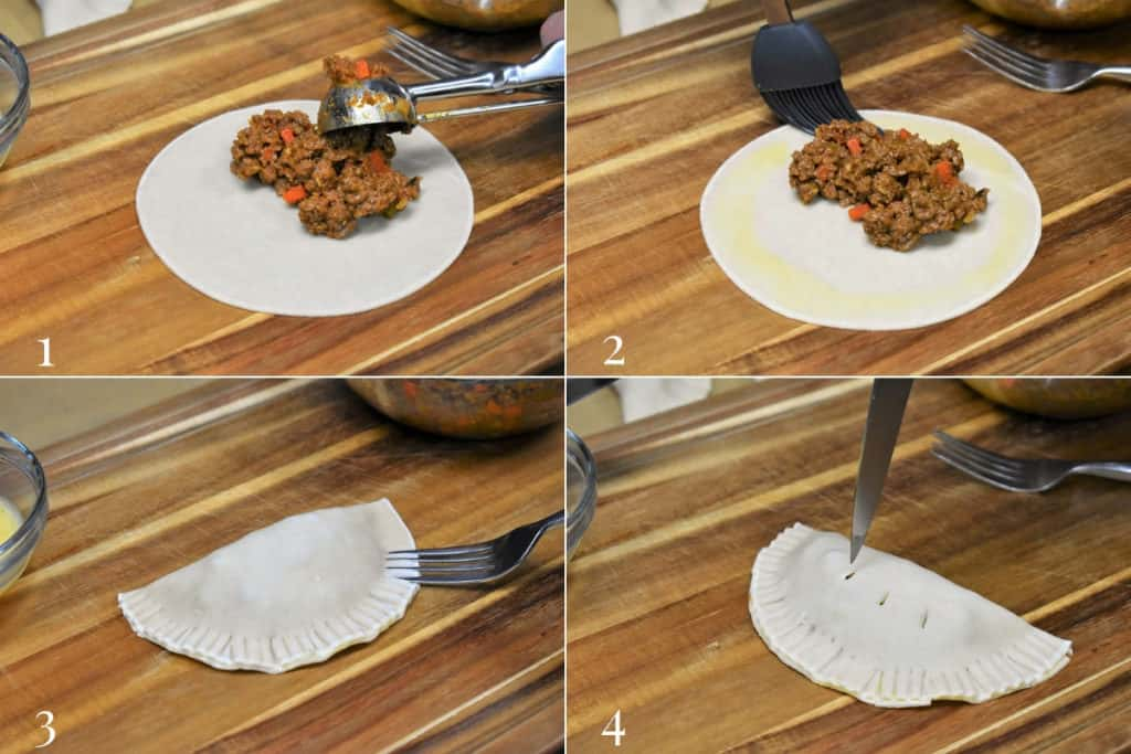 How to make empanadas showing four pictures one, adding the beef to the dough, two brushing egg wash around the edges, three sealing the folded dough with a fork and four, piercing the top with a knife tip for venting