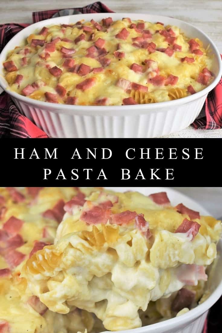 This ham and cheese pasta bake is an easy, delicious, comfort meal that's fit for holiday get-togethers or Sunday dinner. In this recipe, rotelle pasta is covered with a creamy béchamel sauce, Swiss cheese and diced ham. This pasta dish uses simple ingredients, and requires minimal prep, plus it makes a nice big casserole so it feeds a crowd. #hamandcheesepasta #creamypasta #bechamel