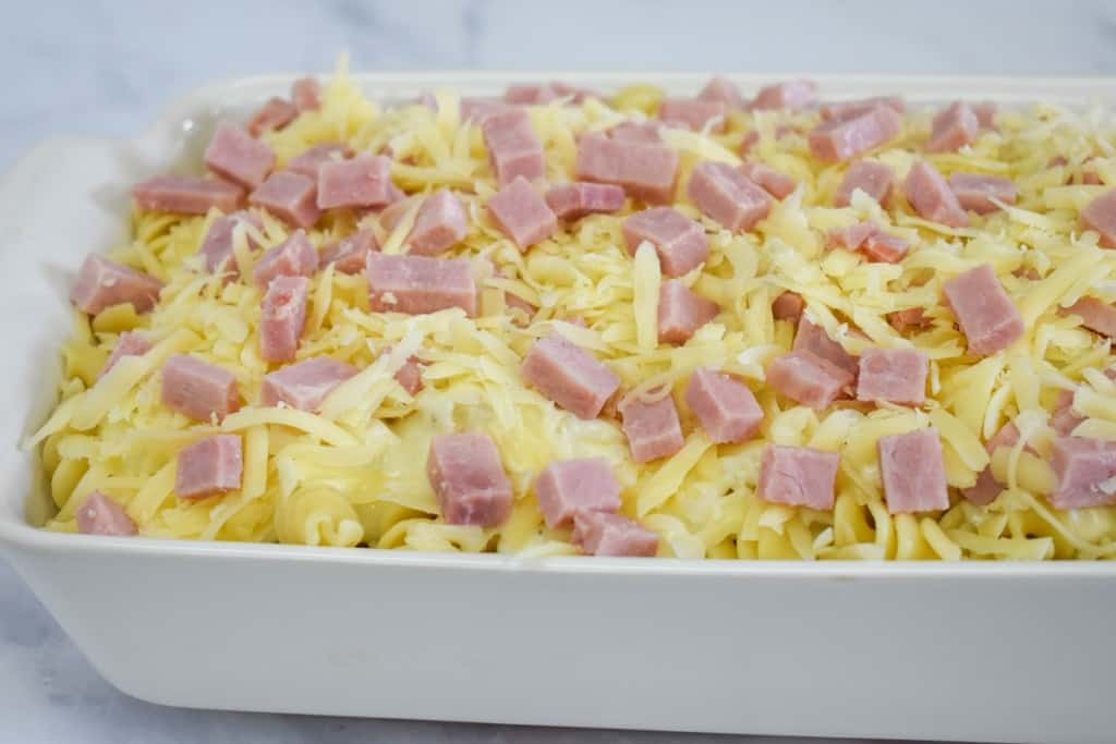 The ham and cheese casserole before baking.