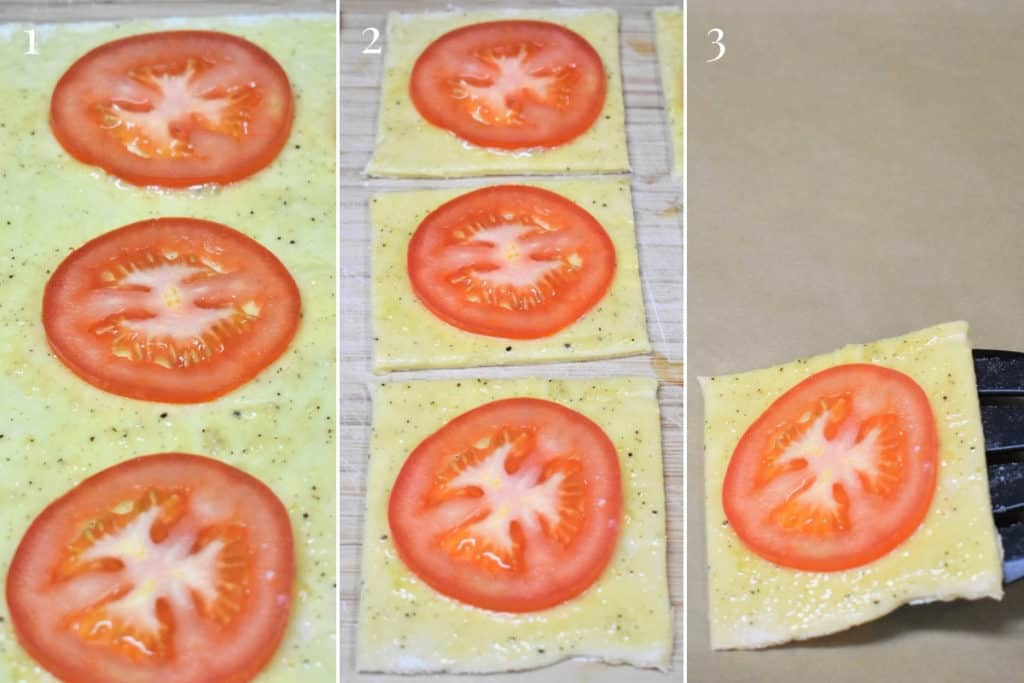 Tomato Bread Appetizer how to instructions with three pictures
