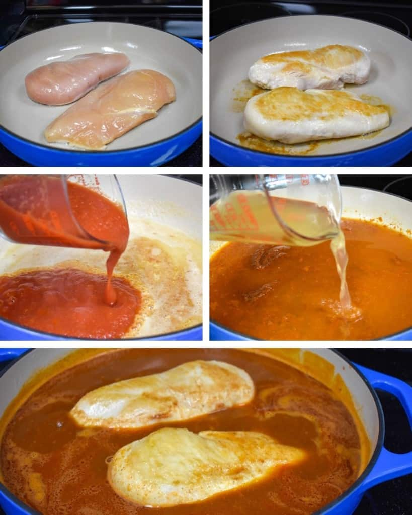 Five pictures in a collage showing the steps to make the chicken and sauce.