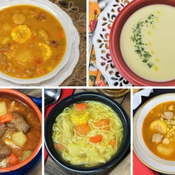 A collage of five Cuban soups, from left to right: ajiaco, crema de malanga, sopa de res, Cuban chicken soup and Cuban corn stew.
