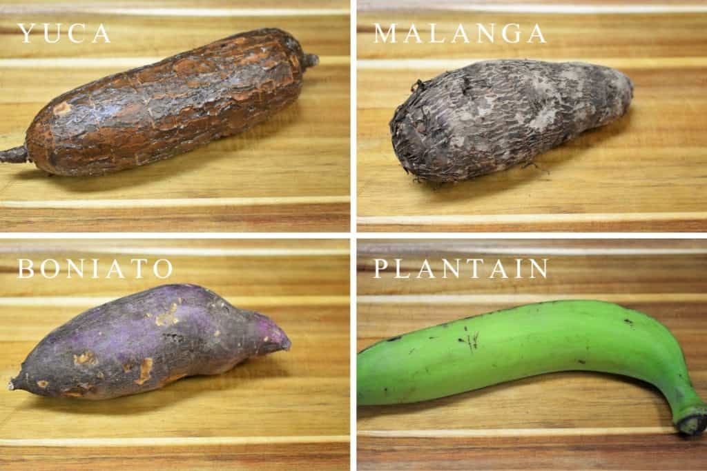 a collage of vegetables used in Cuban soups, from left to right: yuca, malanga, boniato, plantain