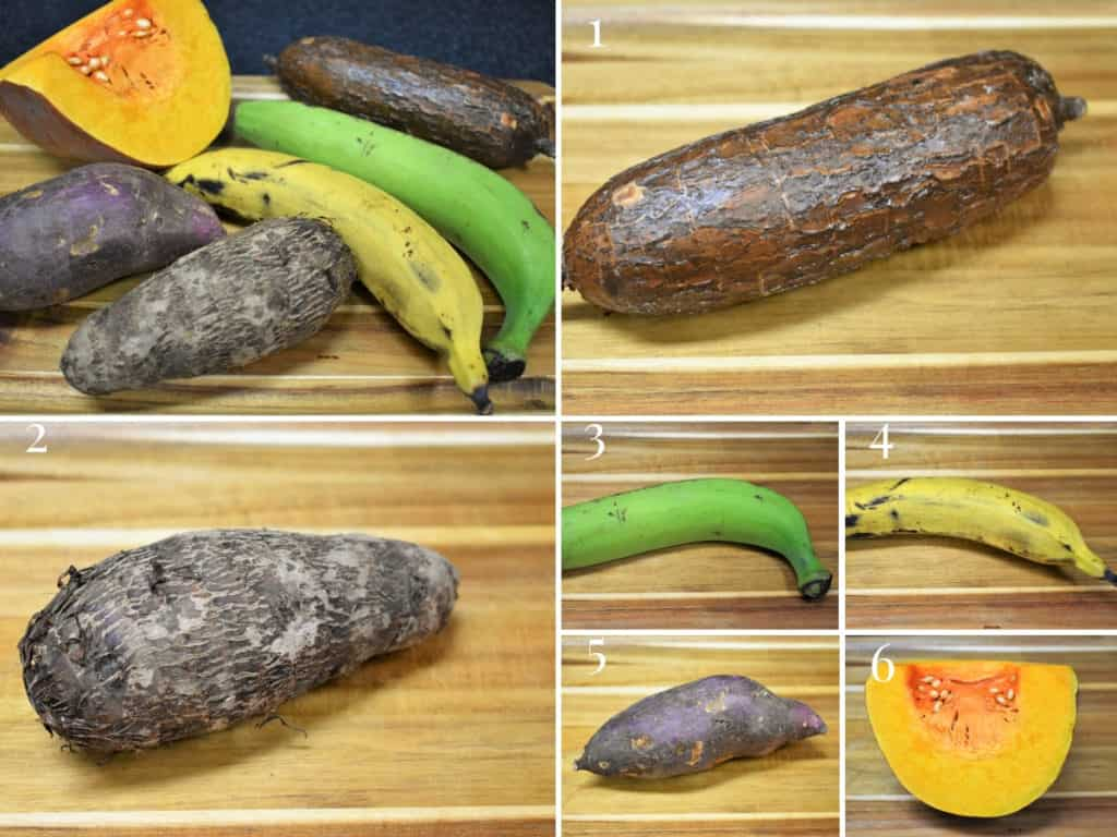 A collage of tropical vegetables for ajiaco