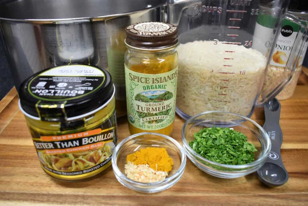 Yellow Rice Ingredients on a wood cutting board