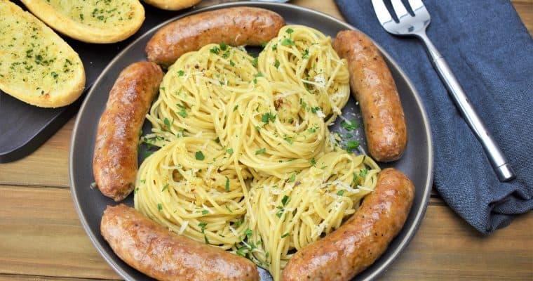 Spaghetti Aglio e Olio & Italian Sausage