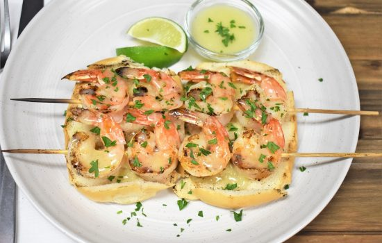 Grilled Shrimp Skewers and Butter Lime Sauce