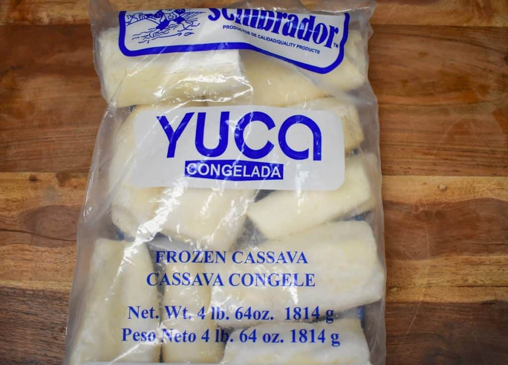 Frozen Yuca in a 4 pound package with blue lettering.
