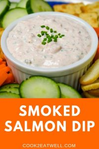 Salmon Dip served in a white crock.