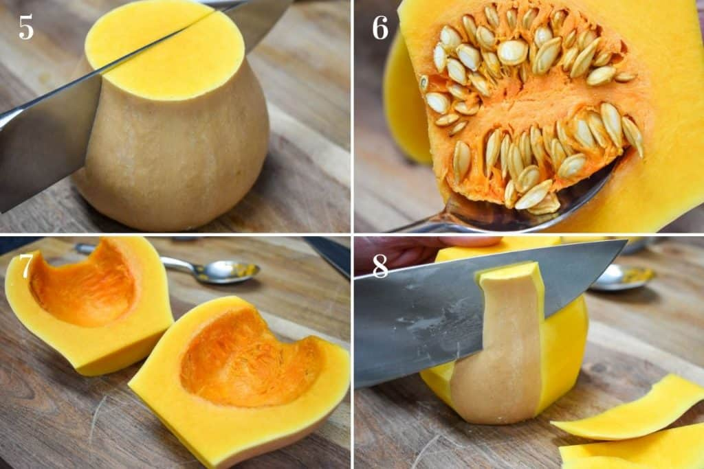 A collage outlining steps four to eight to peel butternut squash.