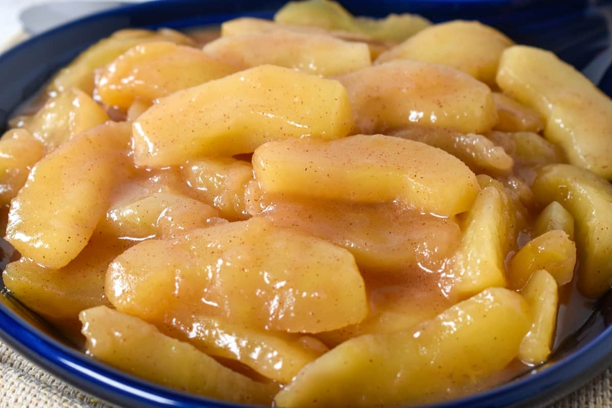 A close up image of the cinnamon apples.