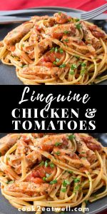 Linguine with chicken and tomatoes pin.