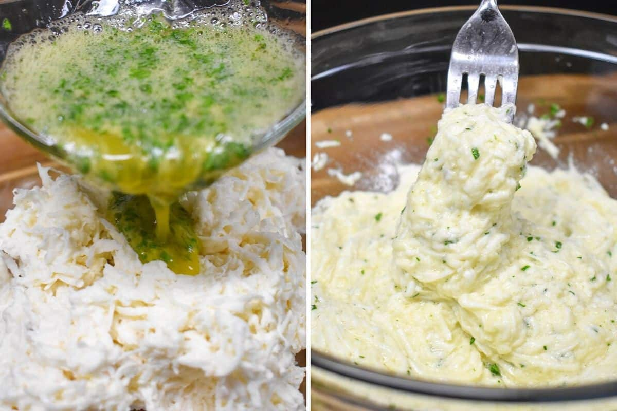 A collage showing two images, one is the egg mixture being added to shredded malanga and the second is the combined malanga mixture.