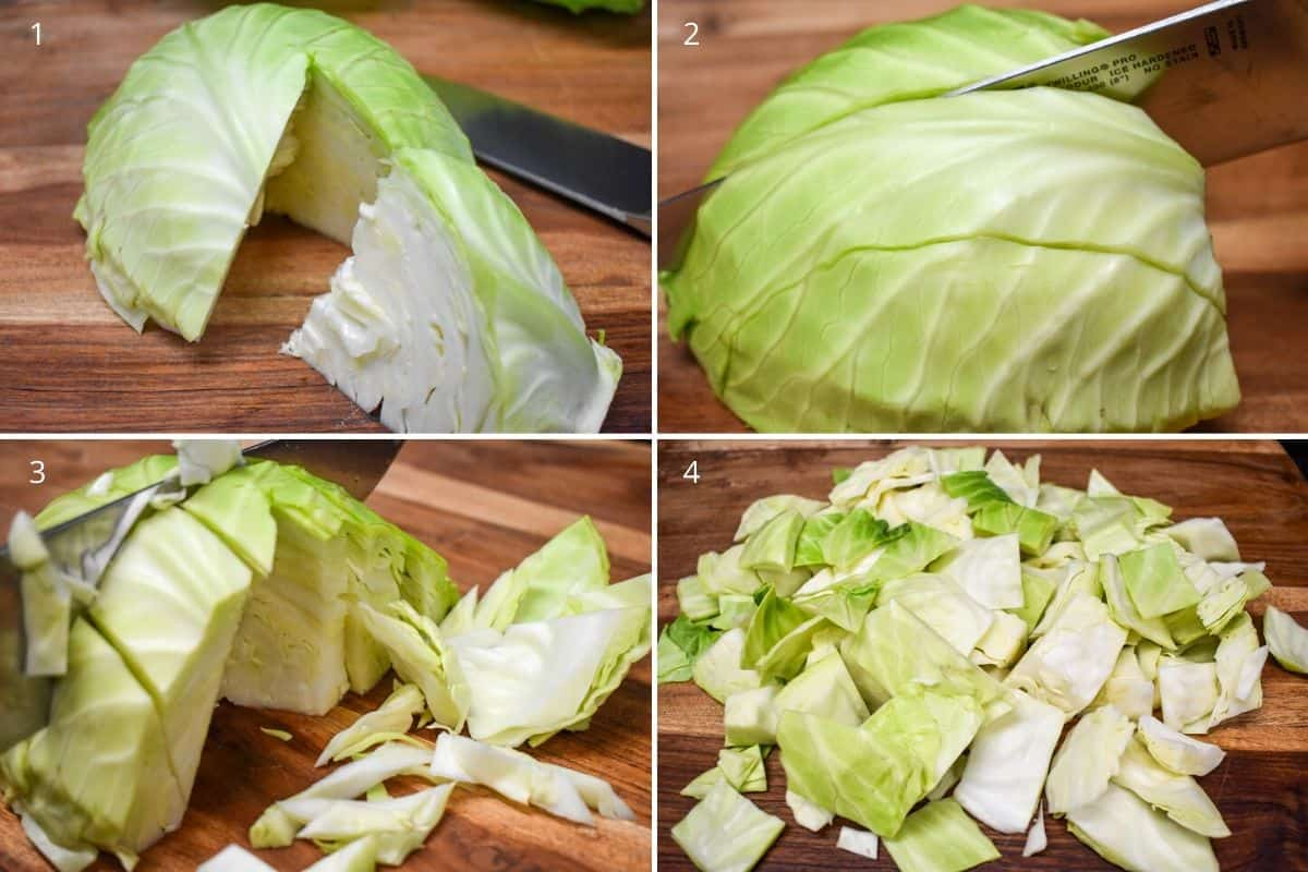 Four pictures showing steps of chopping cabbage on a wood cutting board.