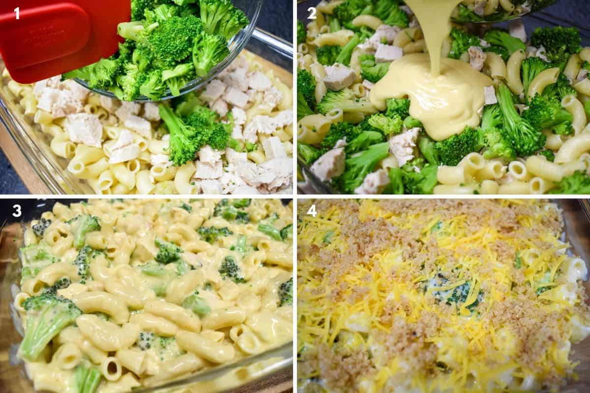 A collage of four images building the casserole.