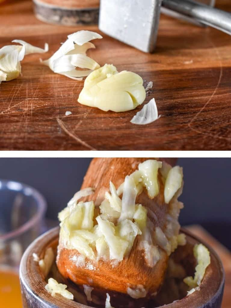 Two images of garlic being broken down. The top picture is a smashed clove on a wood cutting board and the bottom one is garlic in a mortar and pestle.