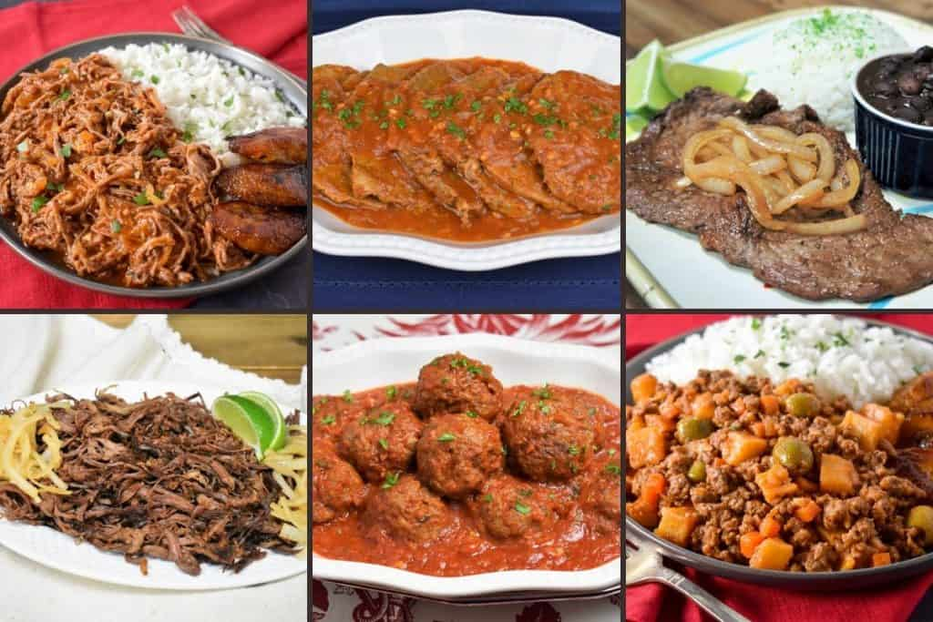 A collage of Cuban beef recipes: ropa vieja, bistec en cazuela, palomilla, vaca frita, meatballs and picadillo.