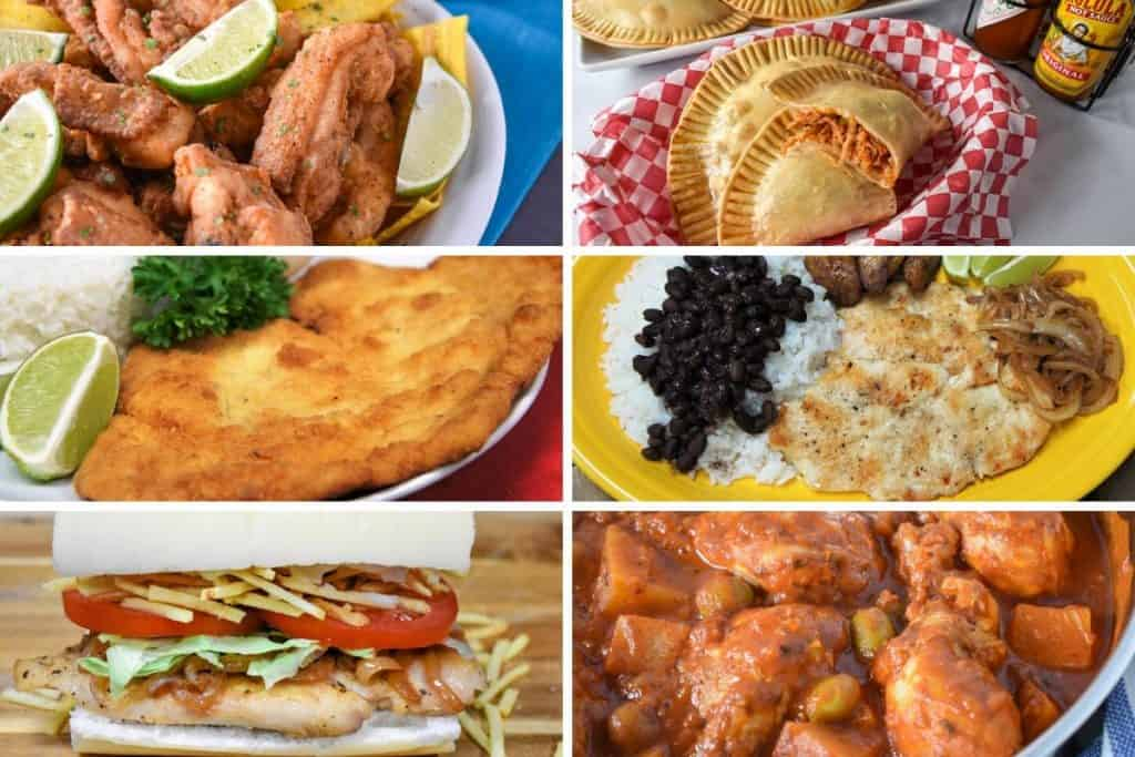 A collage of six Cuban chicken recipes.