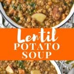 Lentil potato soup pin