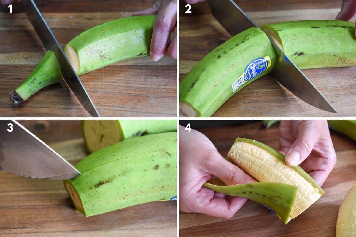 Four images showing how to peel a green plantain.