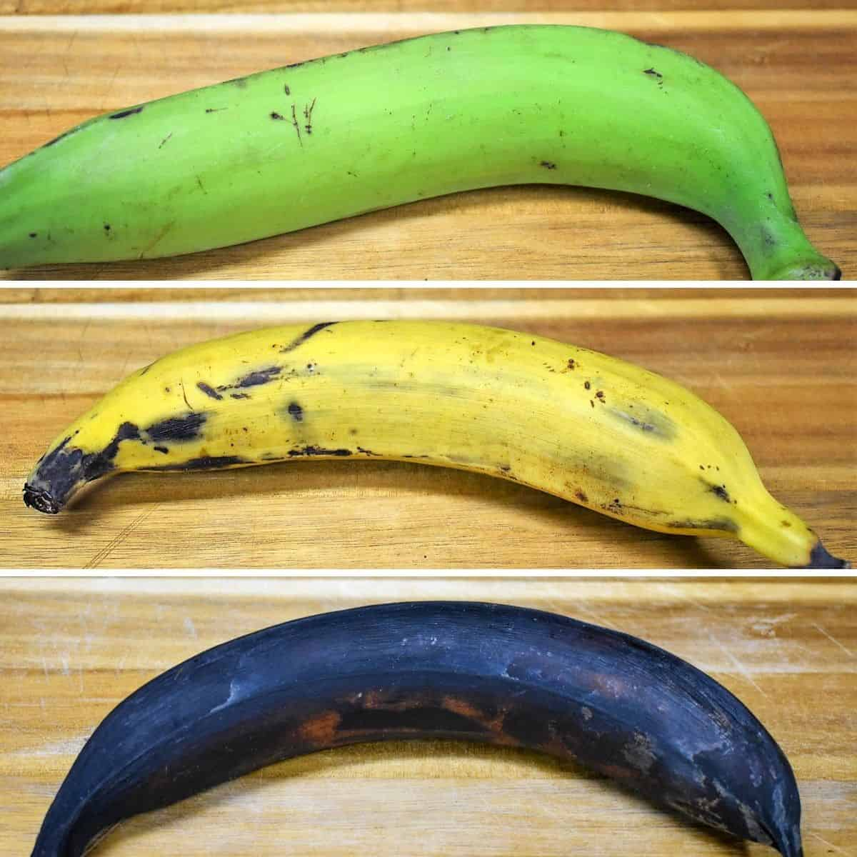 Three plantains in different levels of ripeness, green, yellow and black.