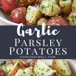 Two images of the finished potatoes with a graphic in the center in gray with white letters with the title.