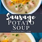 Two images of the finished soup with a graphic in the center in gray with white letters with the title.