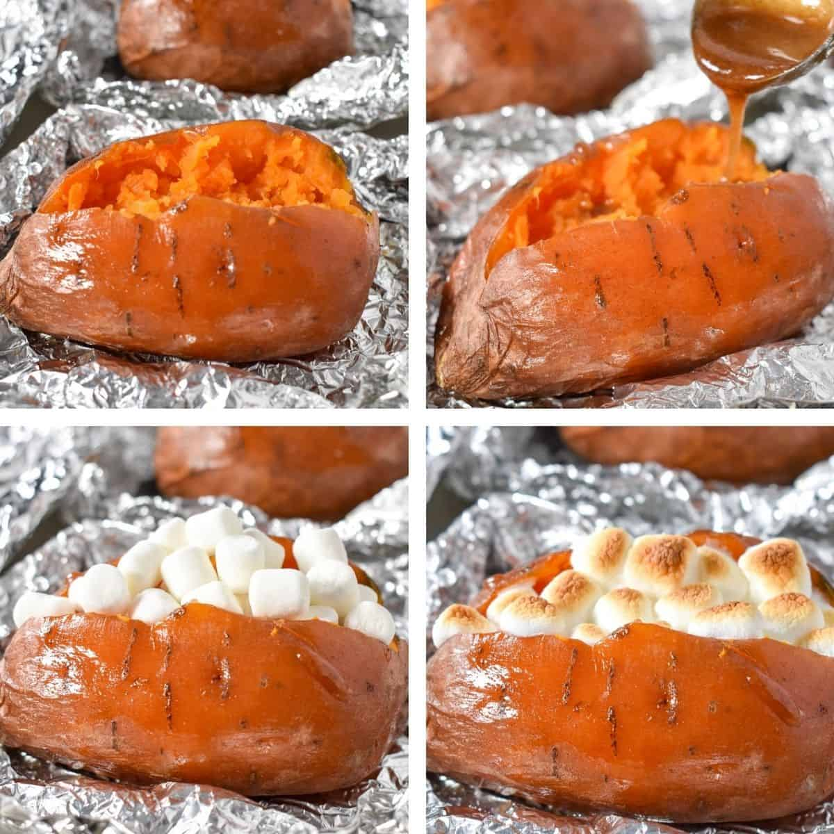 A collage of four images showing the process of making the loaded sweet potato, from fluffing the flesh to a final image with toasted marshmallows.