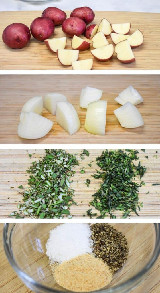 Four images illustrating the prep work for the potatoes and onions for the dish.