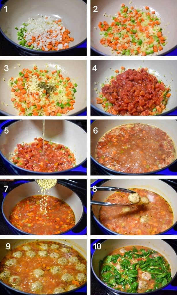 A collage of ten images illustrating the steps to make turkey meatball soup.