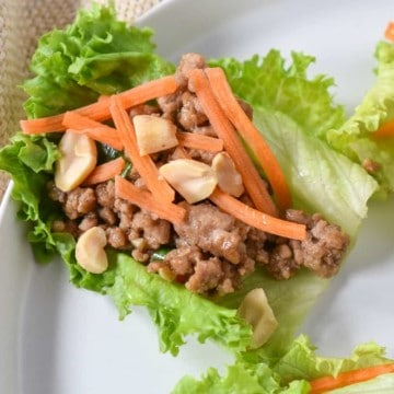 A pork lettuce wrap garnished with shredded carrots and peanuts, served on a white plate.