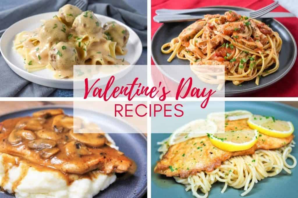 A collage of four images of recipes in the post including meatballs and gravy, chicken tomato pasta, chicken and mushrooms and chicken francaise. There's graphic in the center with the title of the article in pink letters..